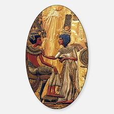 Tutankhamun Ankhesenamun Egypt Gold Sticker (Oval)