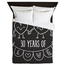 30th Anniversary Gift Chalkboard Heart Queen Duvet