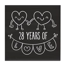 28th Anniversary Gift Chalkboard Hear Tile Coaster