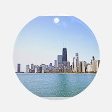Airbrushing of Chicago Skyline Round Ornament