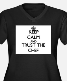 Cute Bon chef Women's Plus Size V-Neck Dark T-Shirt