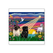 "Cute Fawn pug Square Sticker 3"" x 3"""