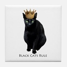 Black Cats Rule Tile Coaster
