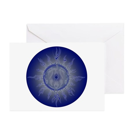 Blue Sun Mandala with Halo Cards (Pk of 10)