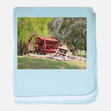 Old farm machinery, Victoria, Austral baby blanket
