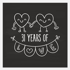 31st Anniversary Gift Chalk 5.25 x 5.25 Flat Cards