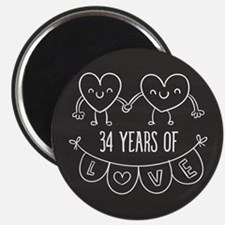 34th Anniversary Gift Chalkboard Hearts Magnet