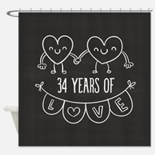 34th Anniversary Gift Chalkboard He Shower Curtain