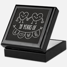 39th Anniversary Gift Chalkboard Hear Keepsake Box