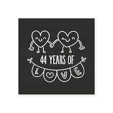 "44th Anniversary Gift Chalk Square Sticker 3"" x 3"""
