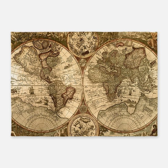 Ancient Map Rug 5'x7'Area Rug