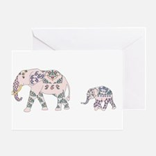 Pink Elephant Parade Greeting Cards