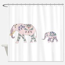 Pink Elephant Parade Shower Curtain