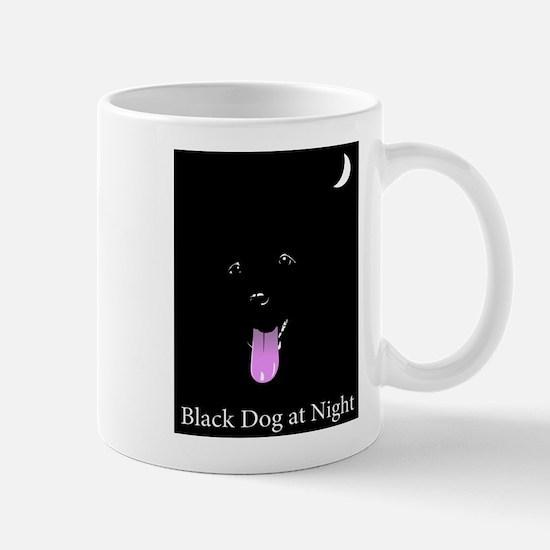 Black Dog at Night Cartoon Mugs