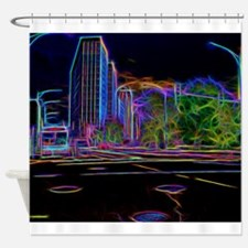 An Electrifying Neon Lit Chicago Shower Curtain