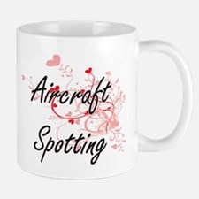 Aircraft Spotting Artistic Design with Hearts Mugs
