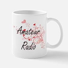 Amateur Radio Artistic Design with Hearts Mugs
