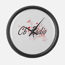 Cb Radio Artistic Design with Hea Large Wall Clock