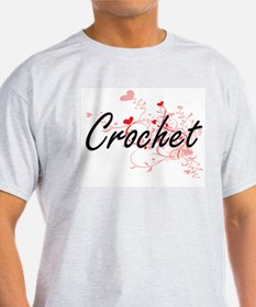 Crochet Artistic Design with Hearts T-Shirt