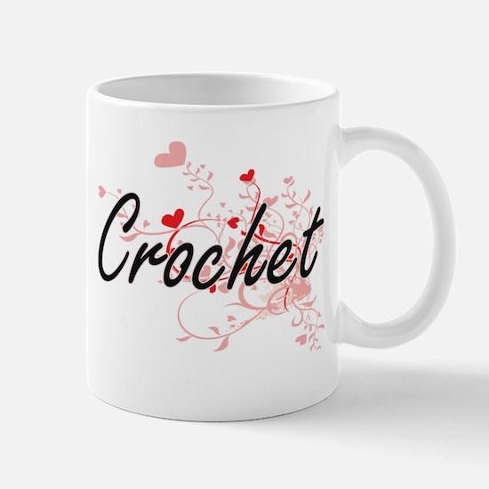 Crochet Artistic Design with Hearts Mugs