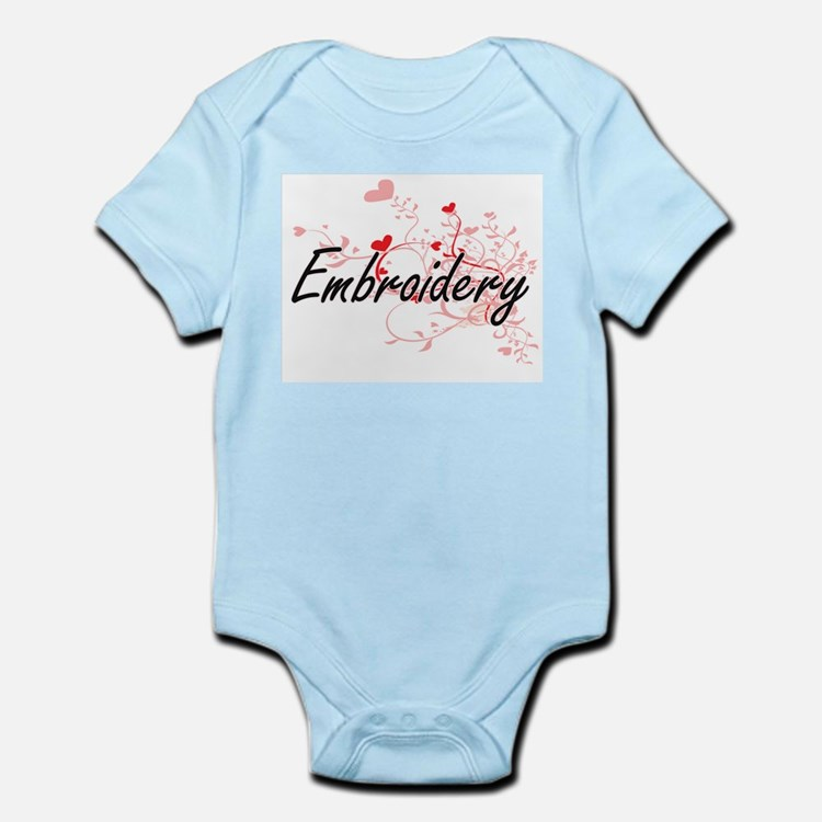 Embroidery Artistic Design with Hearts Body Suit