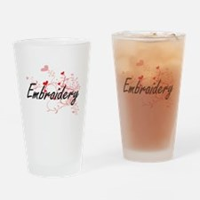Embroidery Artistic Design with Hea Drinking Glass