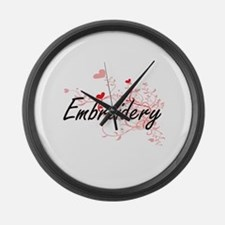 Embroidery Artistic Design with H Large Wall Clock