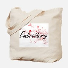 Embroidery Artistic Design with Hearts Tote Bag