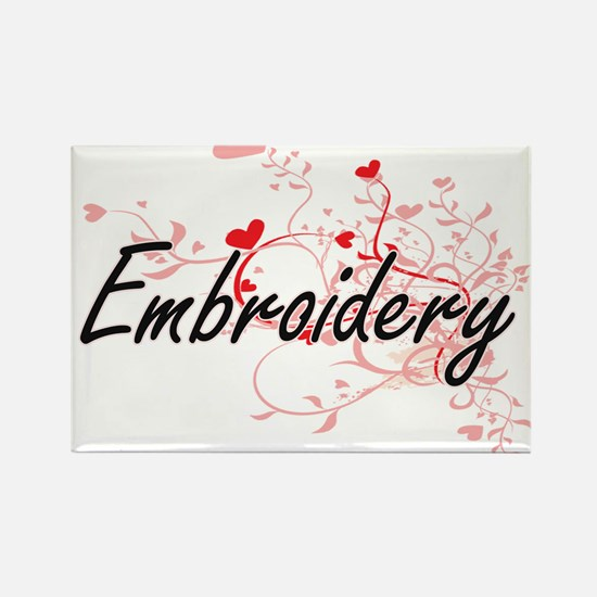 Embroidery Artistic Design with Hearts Magnets