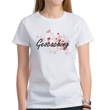 Geocaching Artistic Design with Hearts T-Shirt