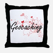Geocaching Artistic Design with Heart Throw Pillow