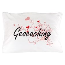Geocaching Artistic Design with Hearts Pillow Case