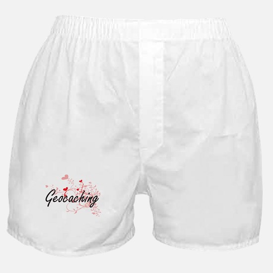 Geocaching Artistic Design with Heart Boxer Shorts