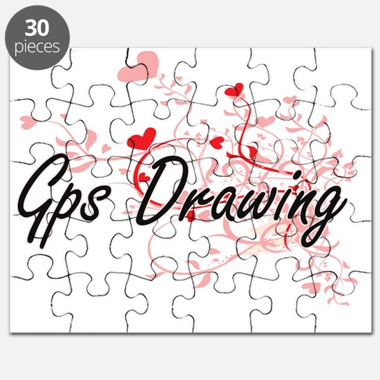 Gps Drawing Artistic Design with Hearts Puzzle