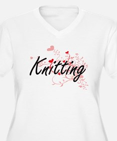 Knitting Artistic Design with He Plus Size T-Shirt
