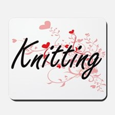 Knitting Artistic Design with Hearts Mousepad