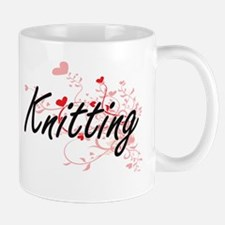 Knitting Artistic Design with Hearts Mugs