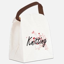 Knitting Artistic Design with Hea Canvas Lunch Bag