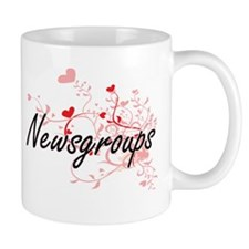 Newsgroups Artistic Design with Hearts Mugs