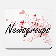 Newsgroups Artistic Design with Hearts Mousepad