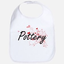 Pottery Artistic Design with Hearts Bib