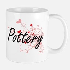Pottery Artistic Design with Hearts Mugs