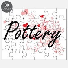 Pottery Artistic Design with Hearts Puzzle