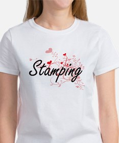 Stamping Artistic Design with Hearts T-Shirt