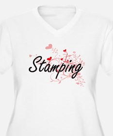 Stamping Artistic Design with He Plus Size T-Shirt