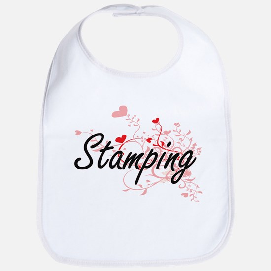 Stamping Artistic Design with Hearts Bib