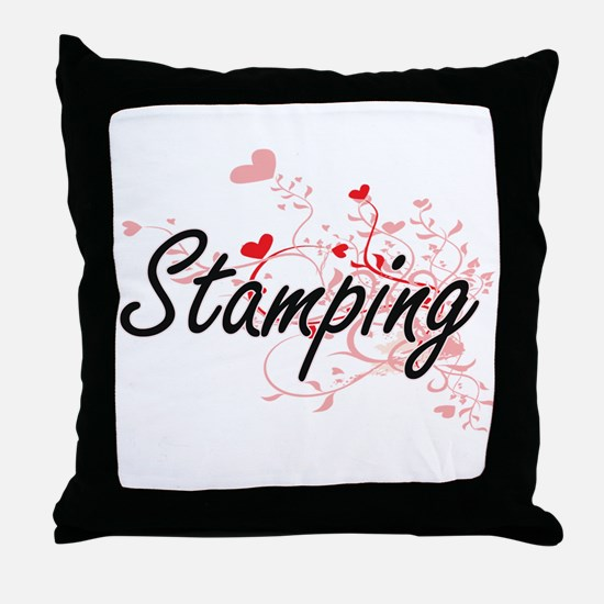Stamping Artistic Design with Hearts Throw Pillow