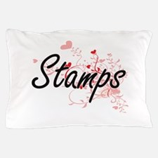 Stamps Artistic Design with Hearts Pillow Case