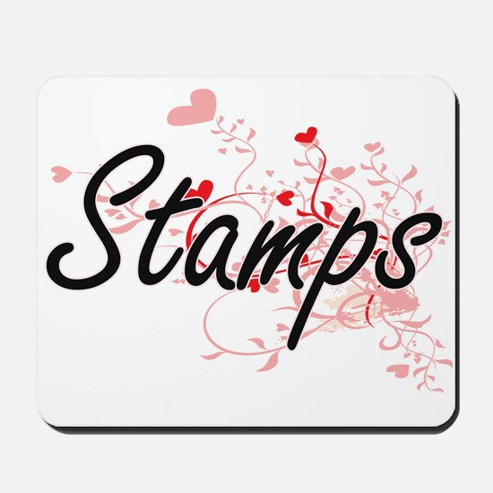 Stamps Artistic Design with Hearts Mousepad