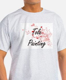 Tole Painting Artistic Design with Hearts T-Shirt